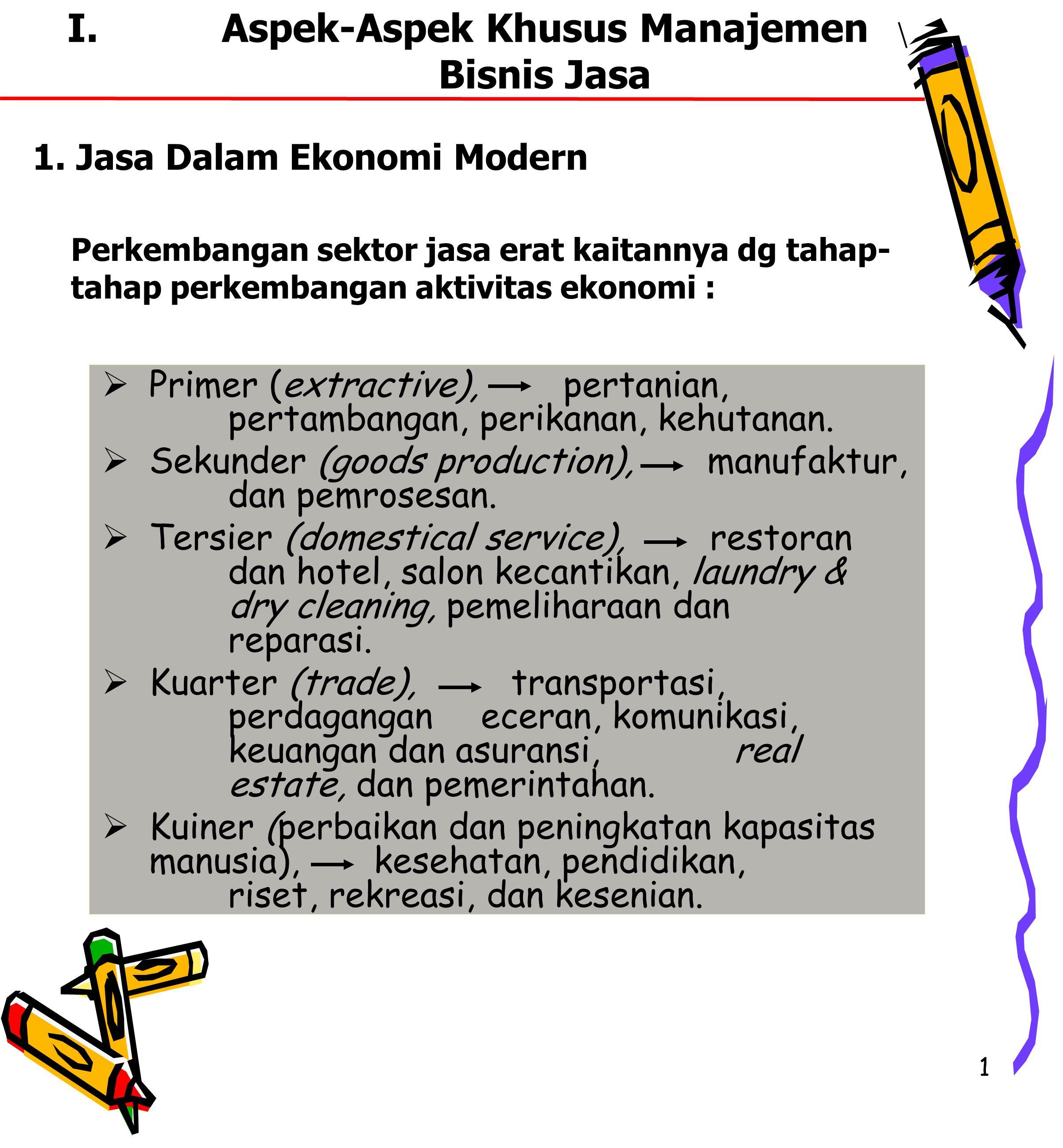 1 I.Aspek-Aspek Khusus Manajemen Bisnis Jasa  Primer (extractive), pertanian, pertambangan, perikanan, kehutanan.