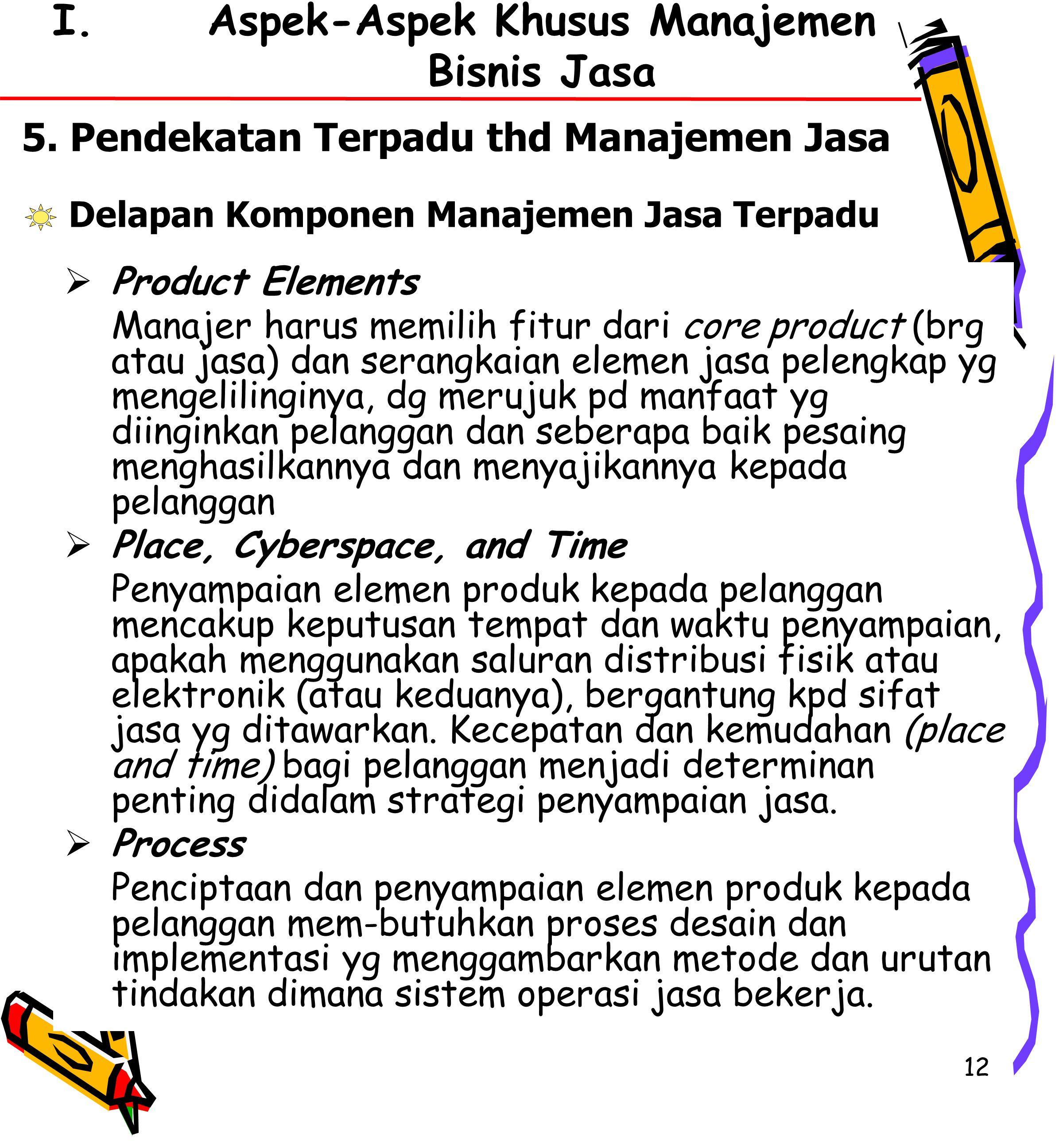 12 I.Aspek-Aspek Khusus Manajemen Bisnis Jasa 5.