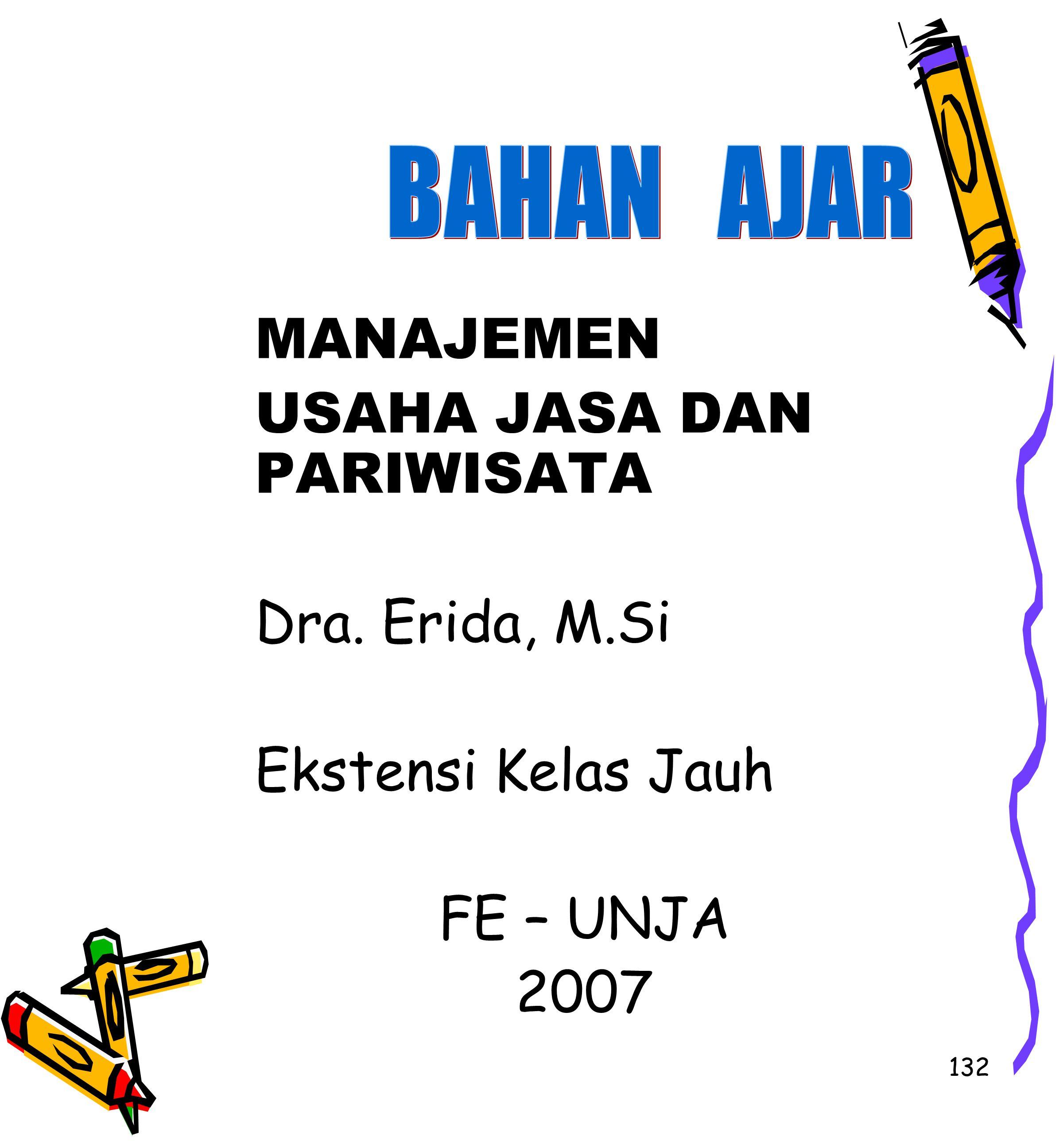 132 MANAJEMEN USAHA JASA DAN PARIWISATA Dra. Erida, M.Si Ekstensi Kelas Jauh FE – UNJA 2007