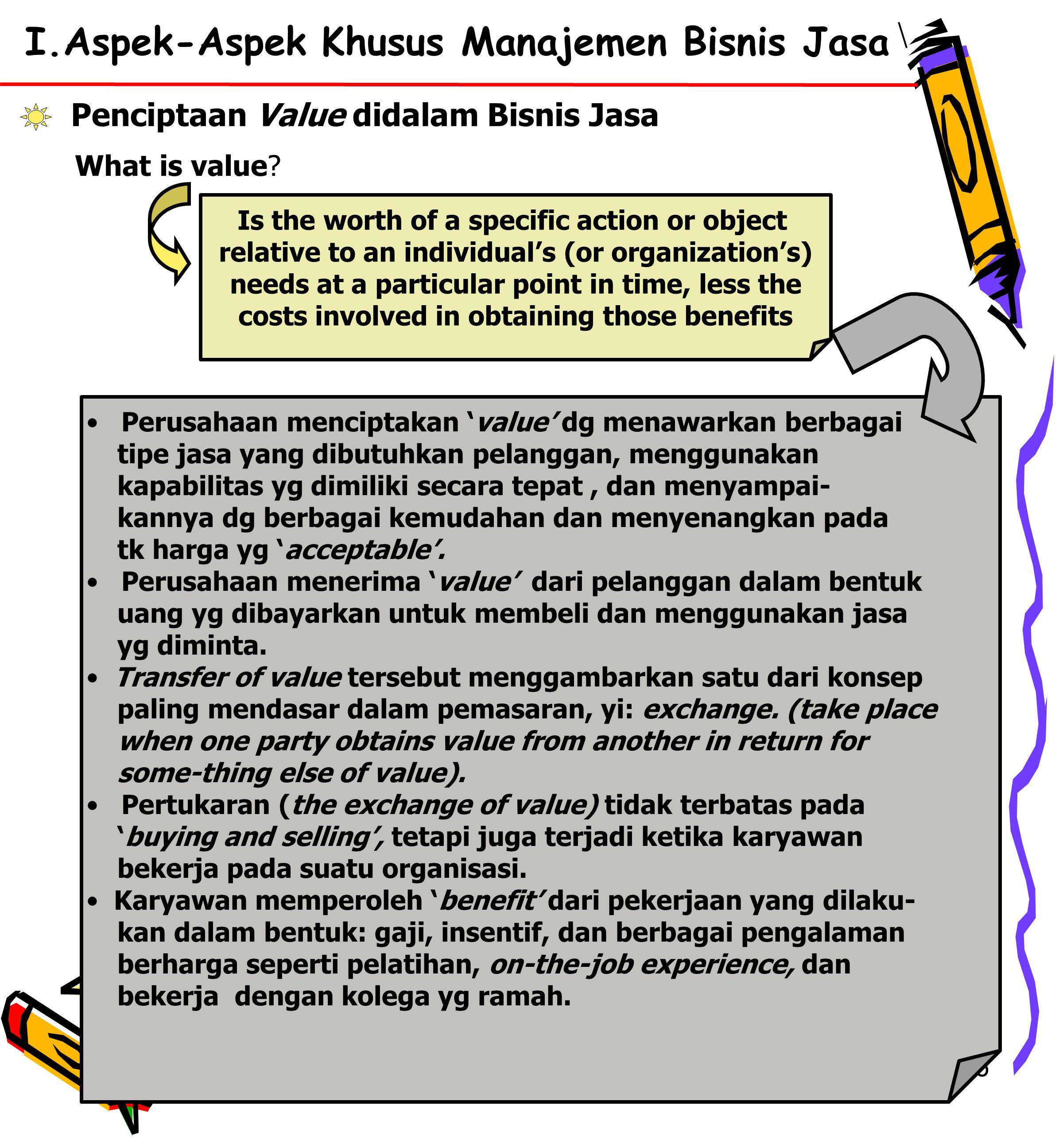 16 I.Aspek-Aspek Khusus Manajemen Bisnis Jasa Penciptaan Value didalam Bisnis Jasa What is value.