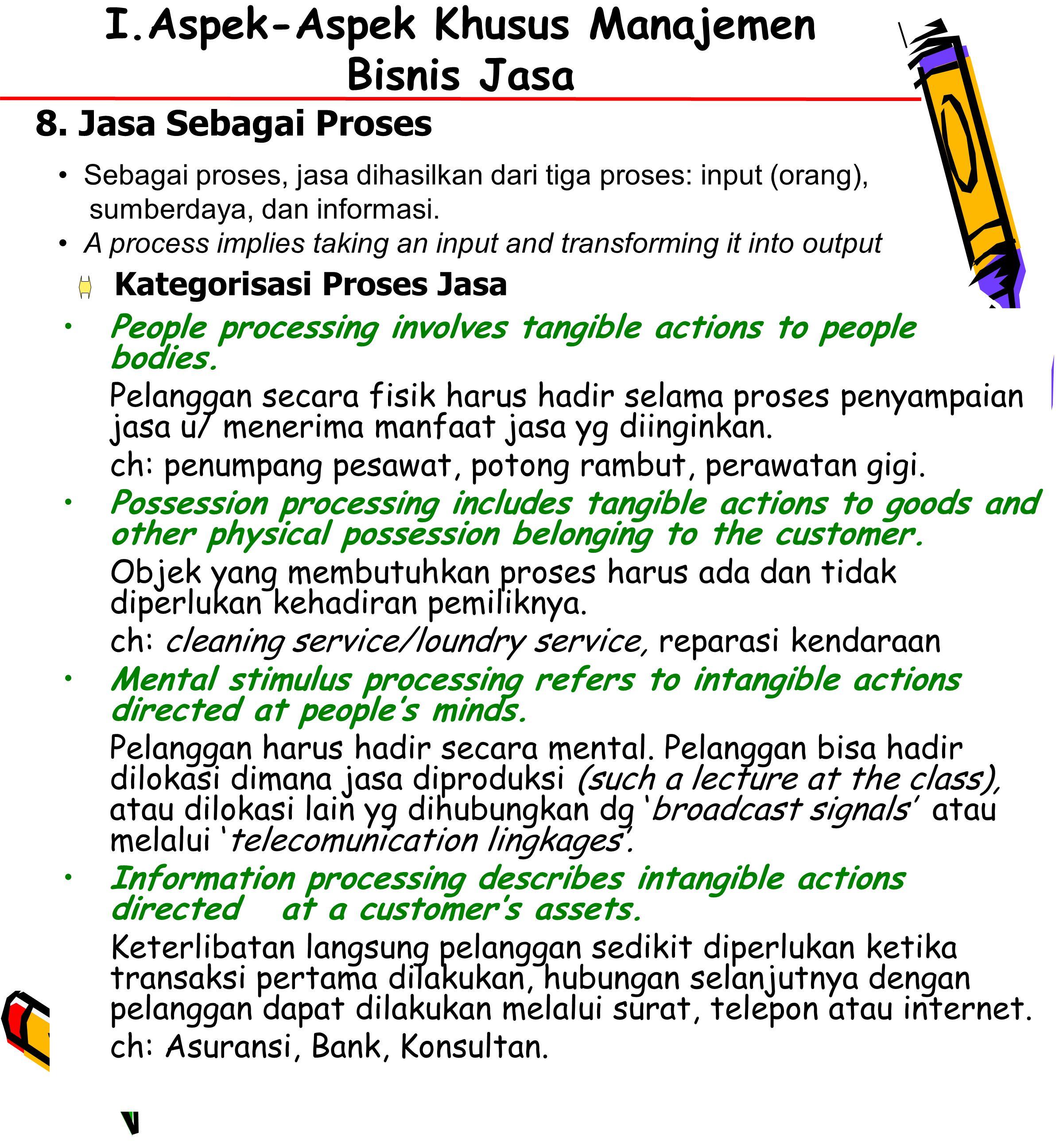 22 I.Aspek-Aspek Khusus Manajemen Bisnis Jasa People processing involves tangible actions to people bodies.