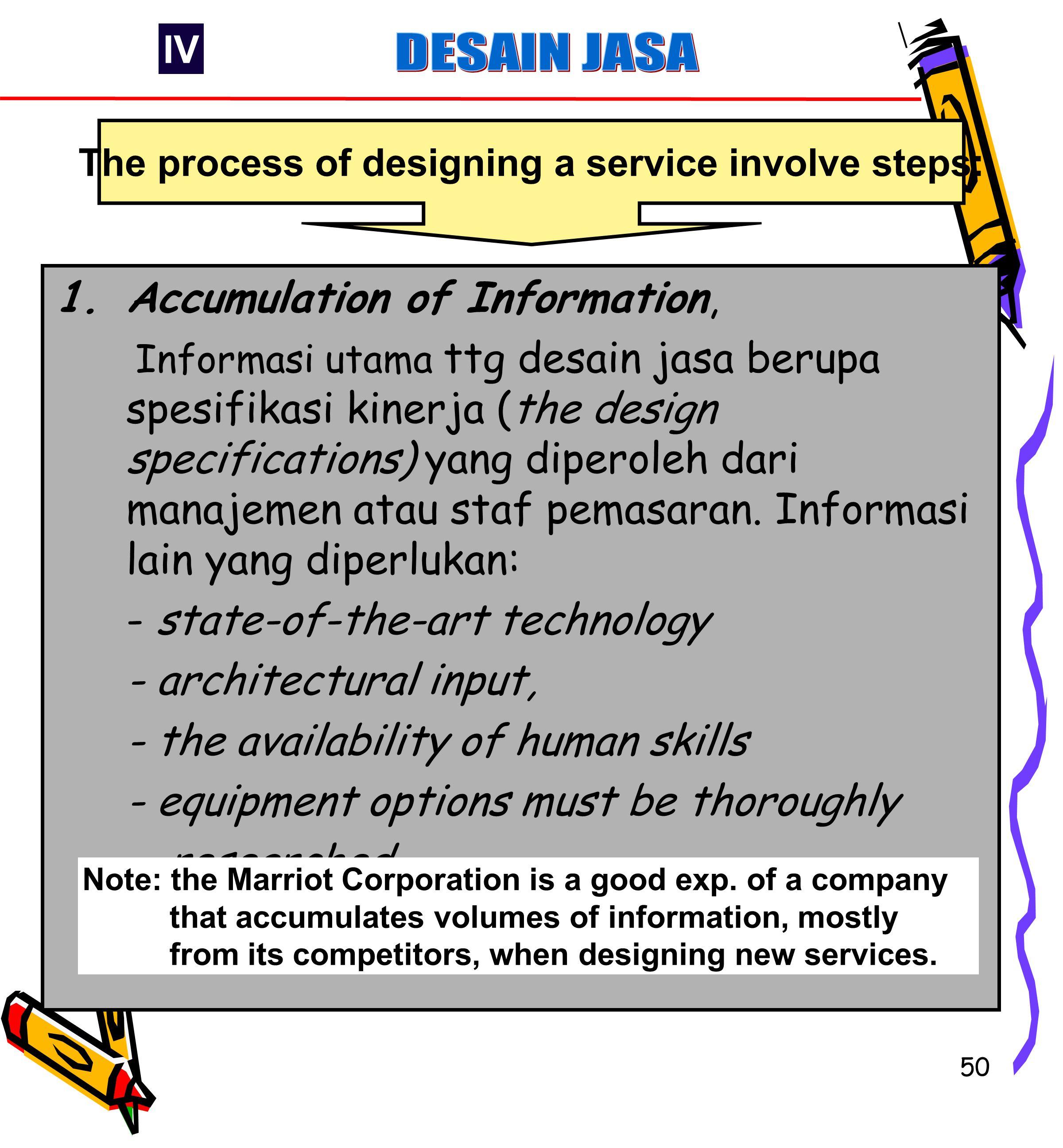 50 1.Accumulation of Information, Informasi utama ttg desain jasa berupa spesifikasi kinerja (the design specifications) yang diperoleh dari manajemen atau staf pemasaran.