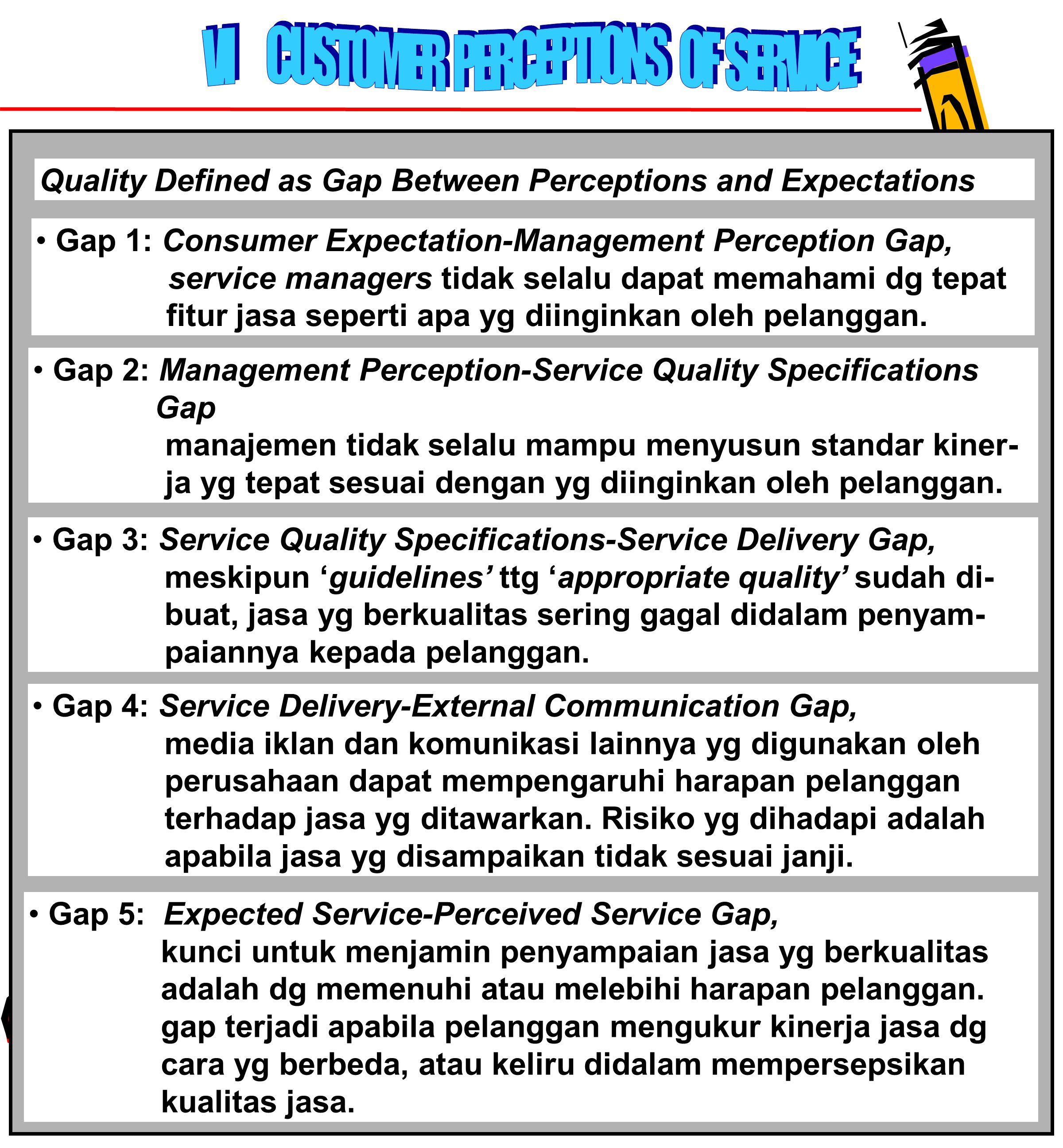 78 Quality Defined as Gap Between Perceptions and Expectations Gap 1: Consumer Expectation-Management Perception Gap, service managers tidak selalu dapat memahami dg tepat fitur jasa seperti apa yg diinginkan oleh pelanggan.