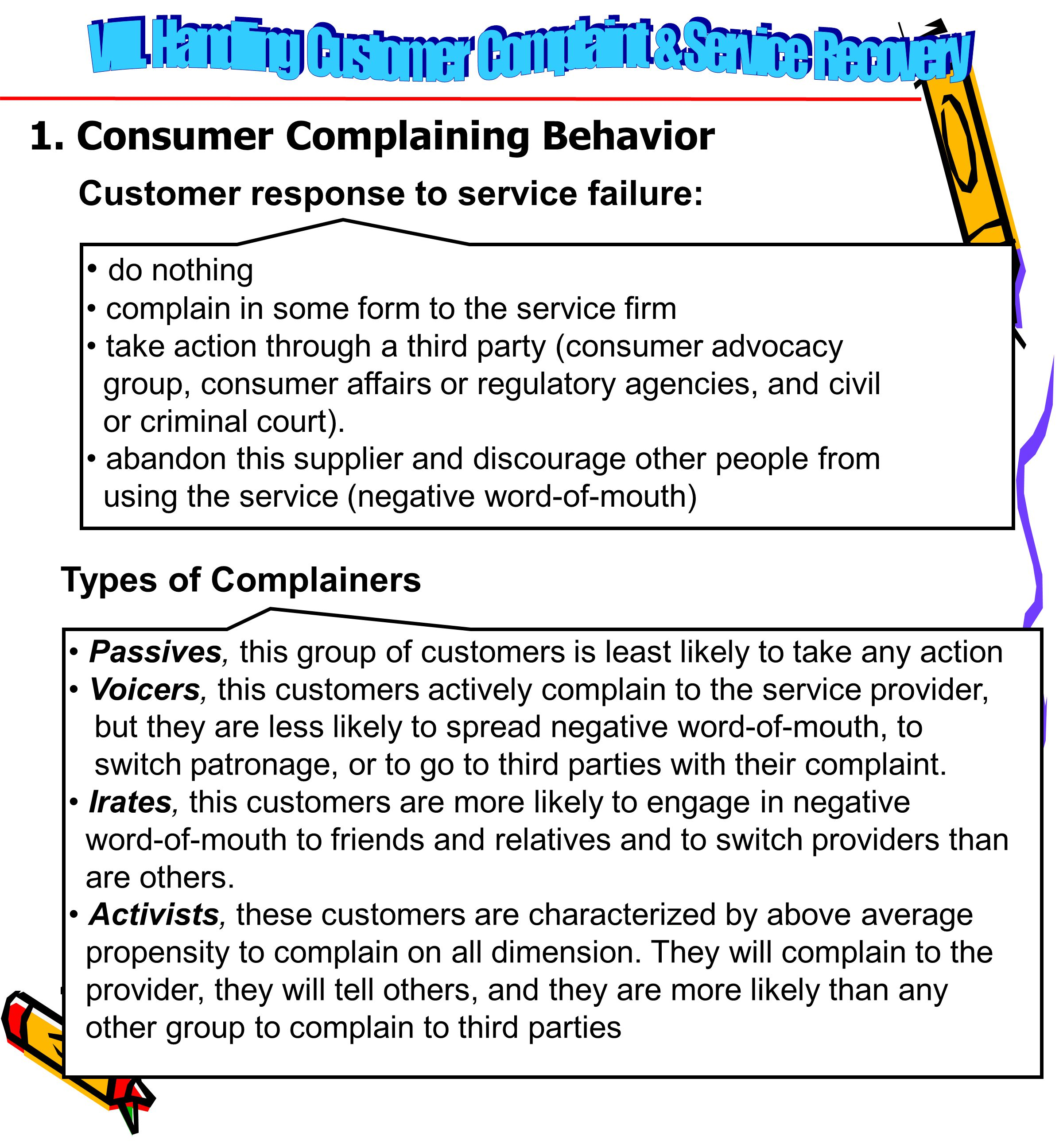 96 1. Consumer Complaining Behavior Customer response to service failure: do nothing complain in some form to the service firm take action through a t