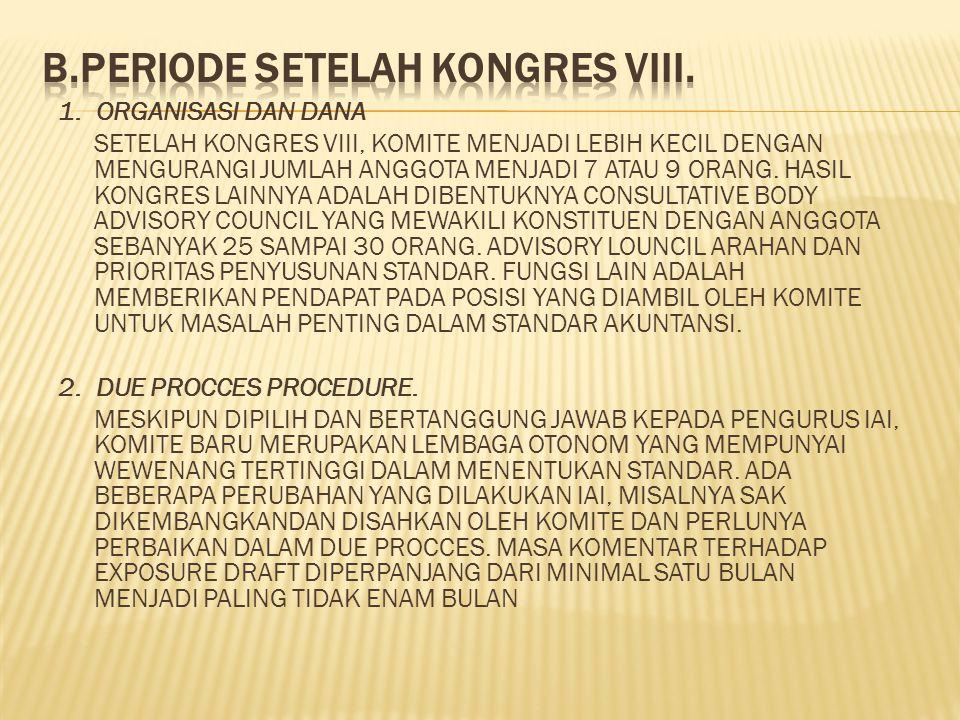 1. ORGANISASI DAN DANA SETELAH KONGRES VIII, KOMITE MENJADI LEBIH KECIL DENGAN MENGURANGI JUMLAH ANGGOTA MENJADI 7 ATAU 9 ORANG. HASIL KONGRES LAINNYA
