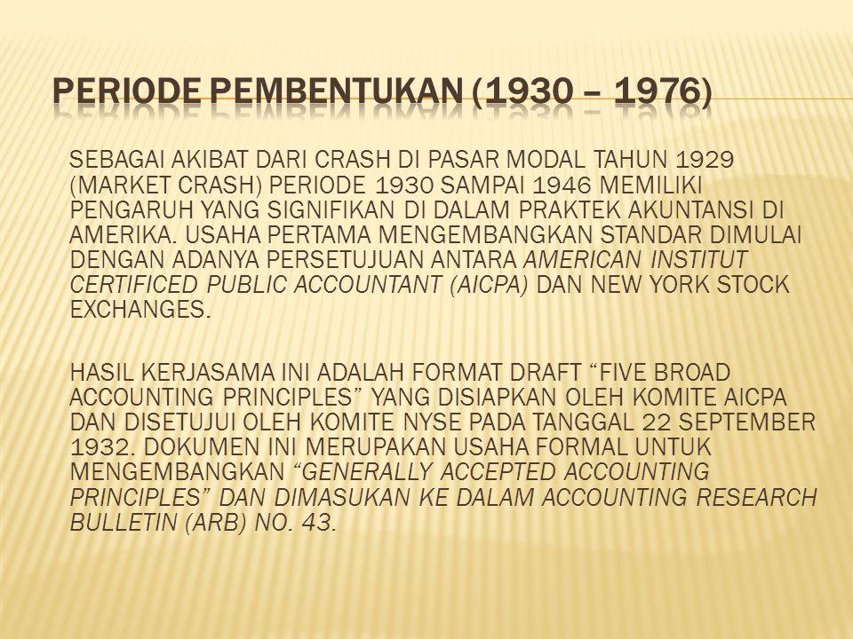SEBAGAI AKIBAT DARI CRASH DI PASAR MODAL TAHUN 1929 (MARKET CRASH) PERIODE 1930 SAMPAI 1946 MEMILIKI PENGARUH YANG SIGNIFIKAN DI DALAM PRAKTEK AKUNTANSI DI AMERIKA.