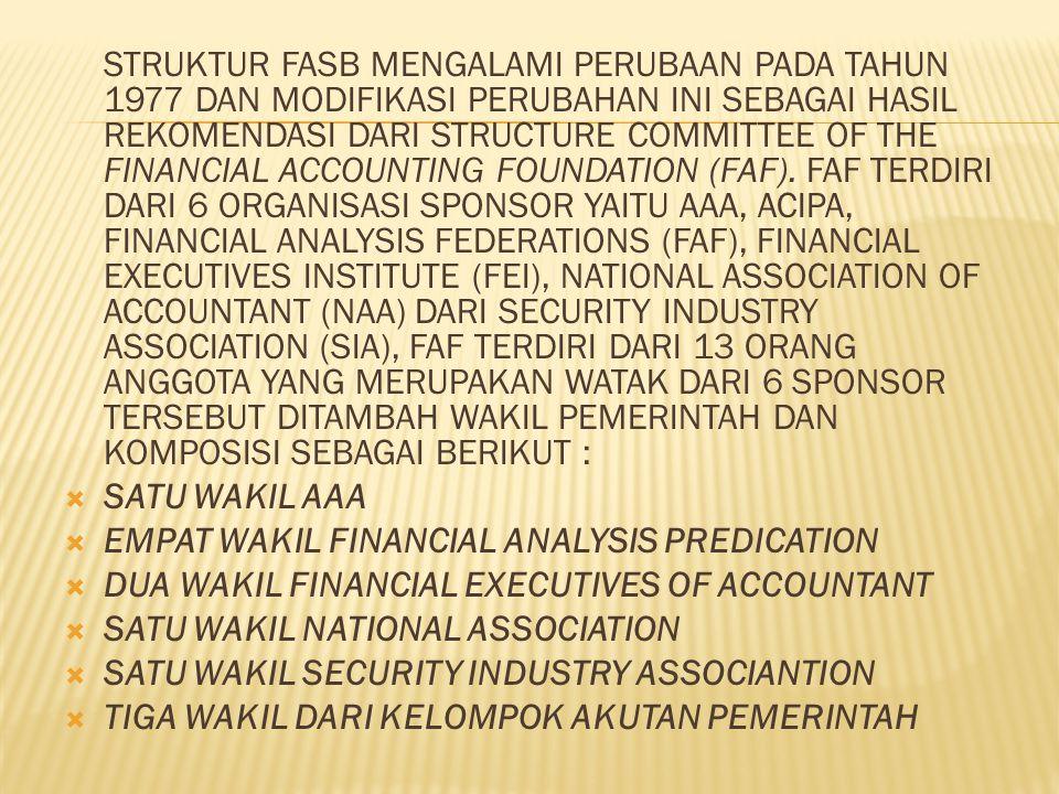 STRUKTUR FASB MENGALAMI PERUBAAN PADA TAHUN 1977 DAN MODIFIKASI PERUBAHAN INI SEBAGAI HASIL REKOMENDASI DARI STRUCTURE COMMITTEE OF THE FINANCIAL ACCOUNTING FOUNDATION (FAF).