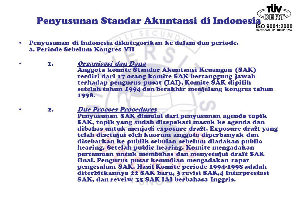 Penyusunan Standar Akuntansi di Indonesia Penyusunan di Indonesia mengacu pada model Amerika.
