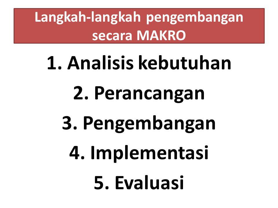 Langkah-langkah pengembangan secara MAKRO 1. Analisis kebutuhan 2.