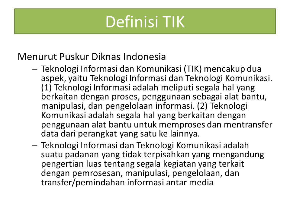 Definisi TIK Menurut Puskur Diknas Indonesia – Teknologi Informasi dan Komunikasi (TIK) mencakup dua aspek, yaitu Teknologi Informasi dan Teknologi Komunikasi.
