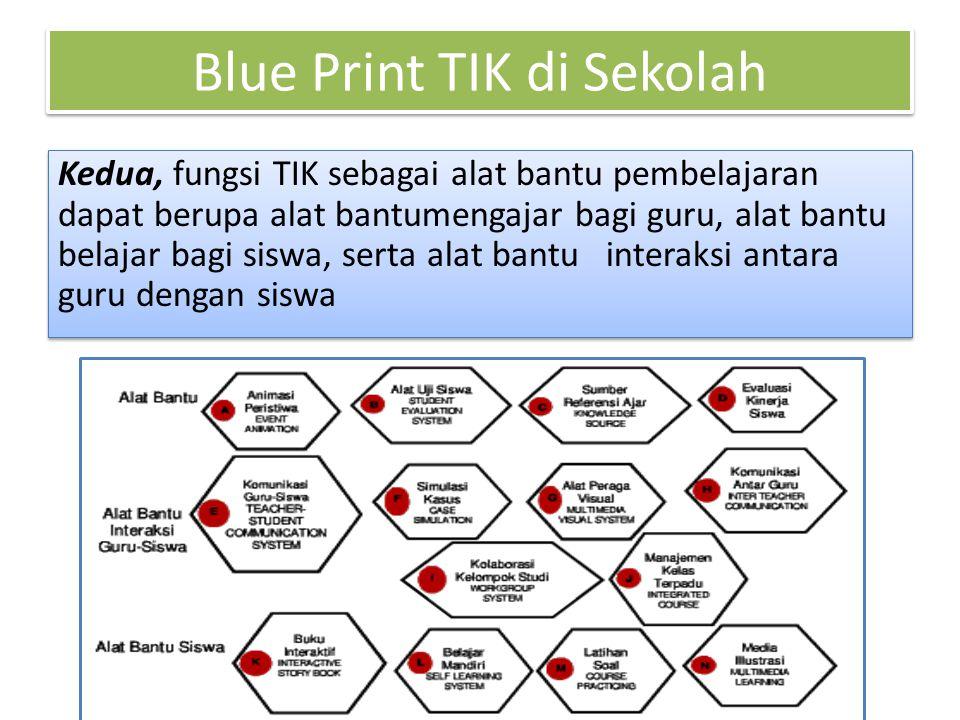 Blue Print TIK di Sekolah Kedua, fungsi TIK sebagai alat bantu pembelajaran dapat berupa alat bantumengajar bagi guru, alat bantu belajar bagi siswa, serta alat bantu interaksi antara guru dengan siswa