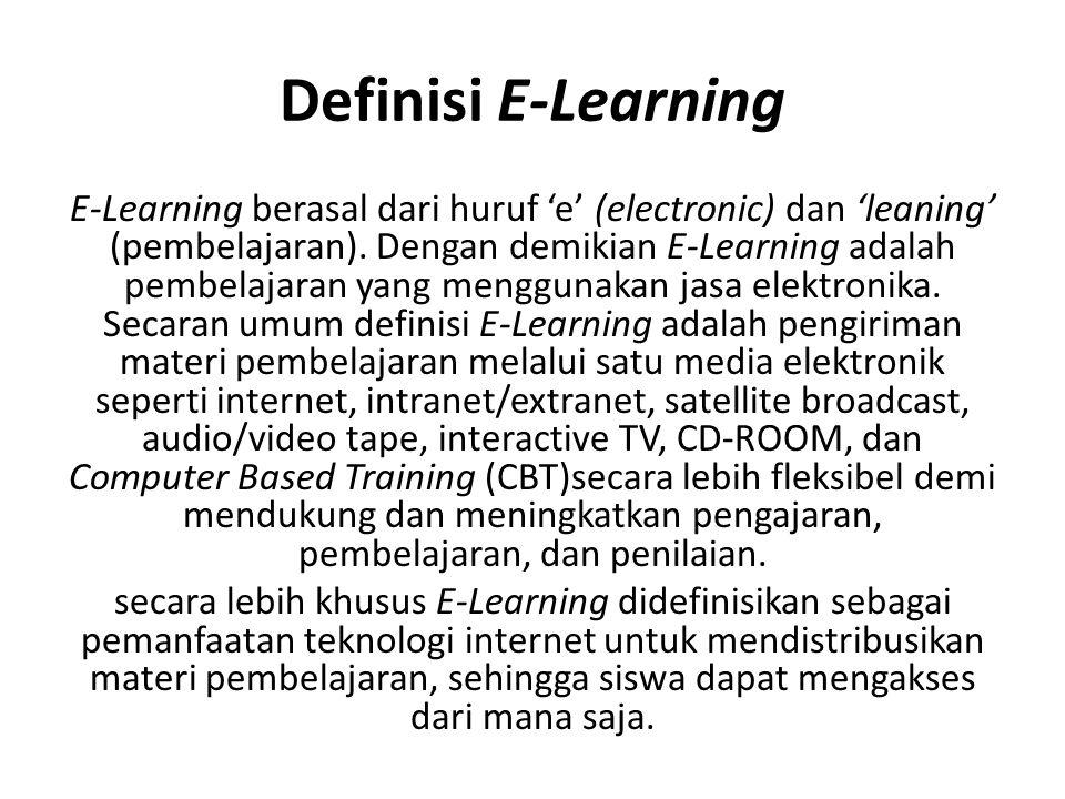 Definisi E-Learning E-Learning berasal dari huruf 'e' (electronic) dan 'leaning' (pembelajaran).