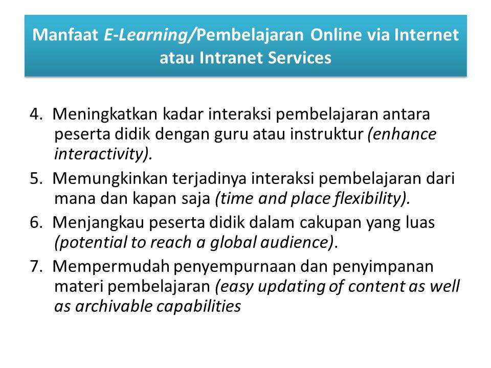 Manfaat E-Learning/Pembelajaran Online via Internet atau Intranet Services 4.