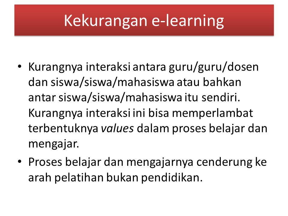 Kekurangan e-learning Kurangnya interaksi antara guru/guru/dosen dan siswa/siswa/mahasiswa atau bahkan antar siswa/siswa/mahasiswa itu sendiri.