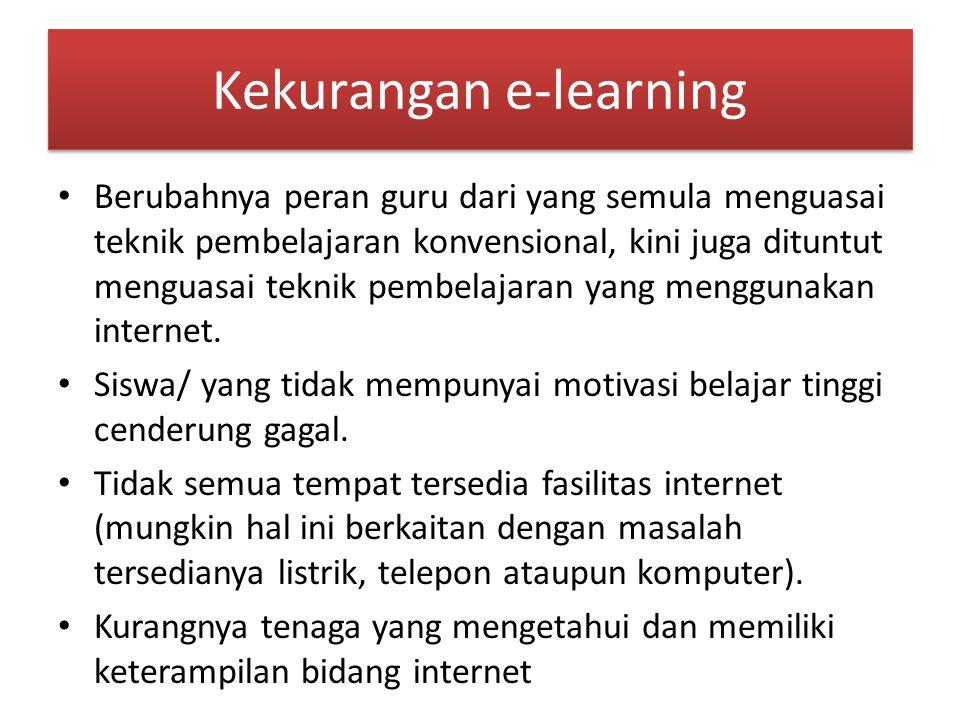 Kekurangan e-learning Berubahnya peran guru dari yang semula menguasai teknik pembelajaran konvensional, kini juga dituntut menguasai teknik pembelajaran yang menggunakan internet.