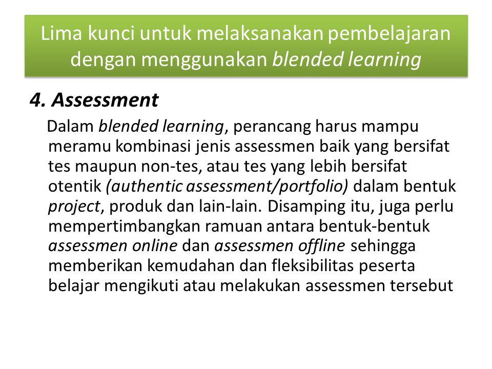 Lima kunci untuk melaksanakan pembelajaran dengan menggunakan blended learning 4.
