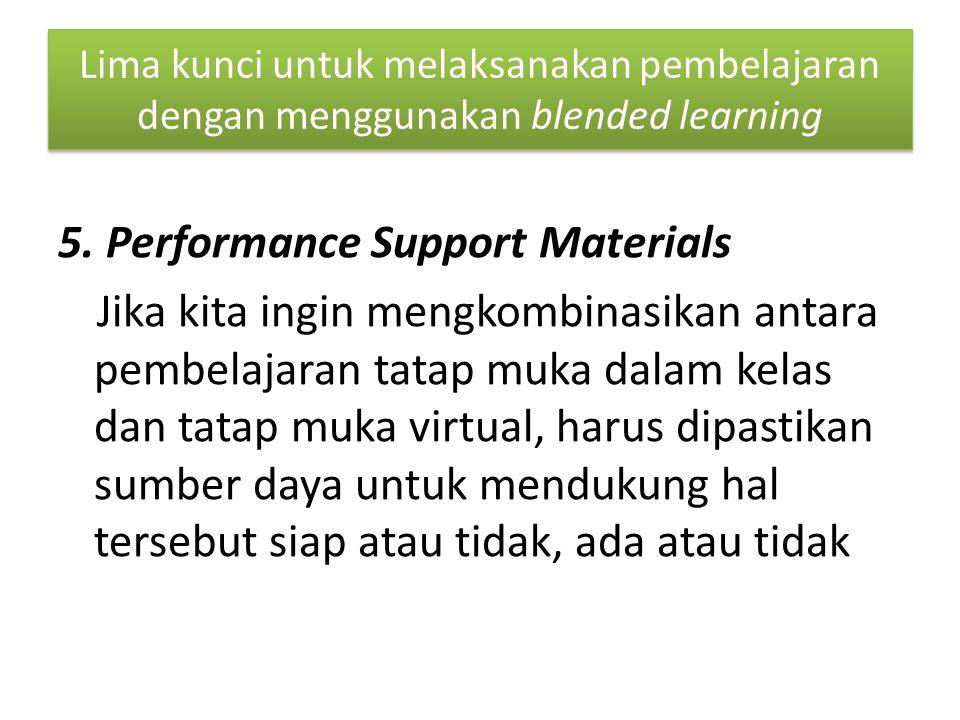 Lima kunci untuk melaksanakan pembelajaran dengan menggunakan blended learning 5.
