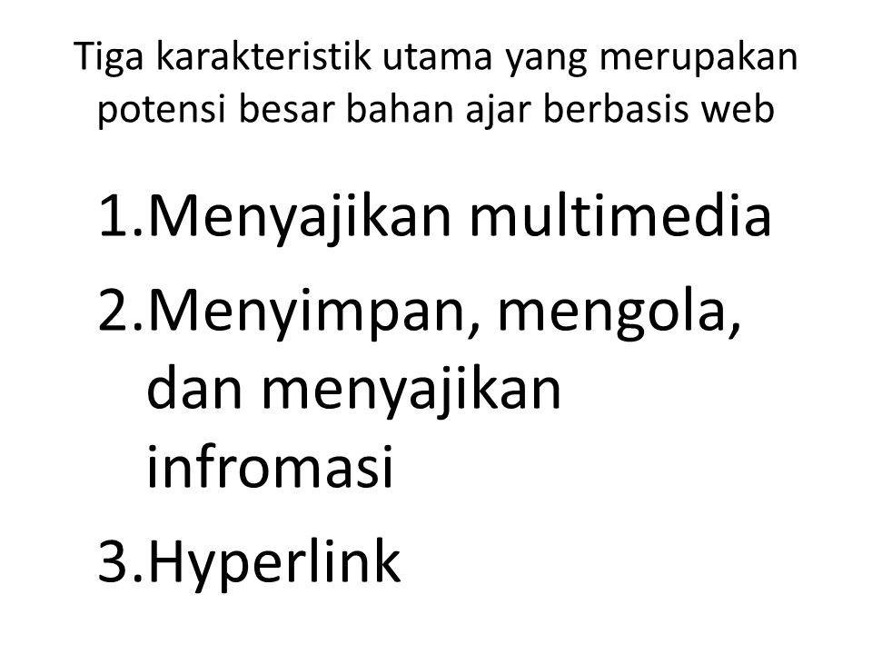 Tiga karakteristik utama yang merupakan potensi besar bahan ajar berbasis web 1.Menyajikan multimedia 2.Menyimpan, mengola, dan menyajikan infromasi 3.Hyperlink