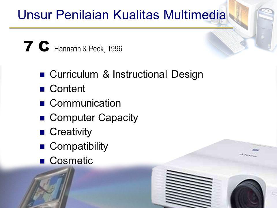 7 C Hannafin & Peck, 1996 Curriculum & Instructional Design Content Communication Computer Capacity Creativity Compatibility Cosmetic Unsur Penilaian
