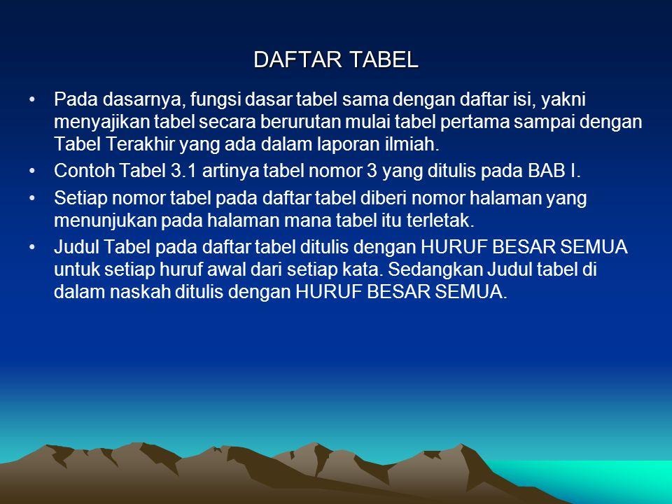 DAFTAR TABEL Pada dasarnya, fungsi dasar tabel sama dengan daftar isi, yakni menyajikan tabel secara berurutan mulai tabel pertama sampai dengan Tabel