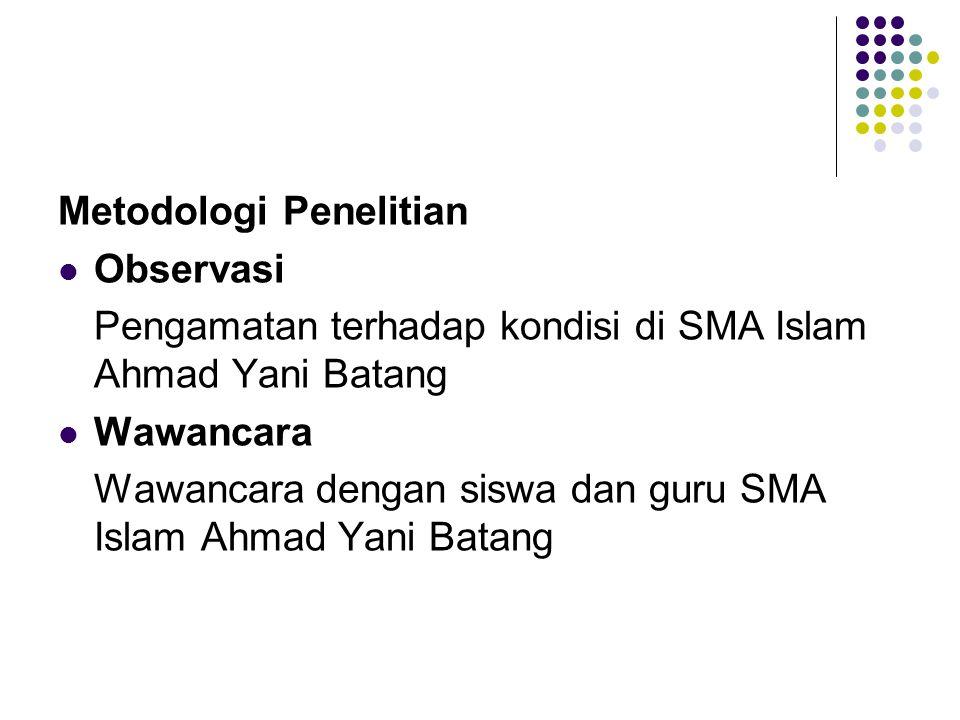 Metodologi Penelitian Observasi Pengamatan terhadap kondisi di SMA Islam Ahmad Yani Batang Wawancara Wawancara dengan siswa dan guru SMA Islam Ahmad Y