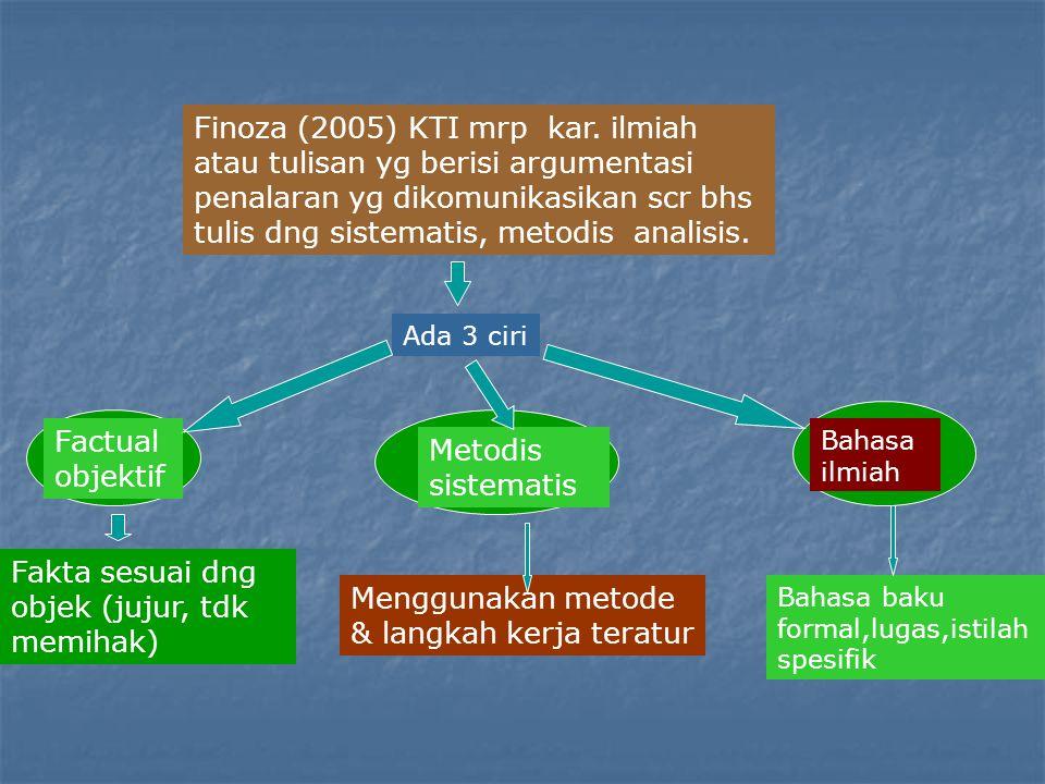 Finoza (2005) KTI mrp kar. ilmiah atau tulisan yg berisi argumentasi penalaran yg dikomunikasikan scr bhs tulis dng sistematis, metodis analisis. Ada