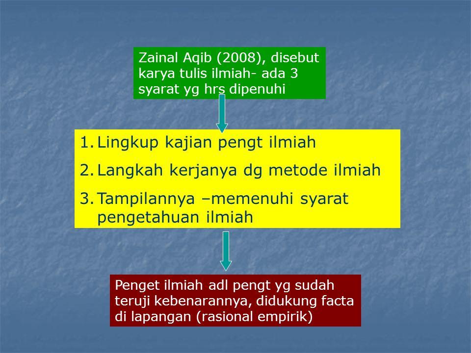 Zainal Aqib (2008), disebut karya tulis ilmiah- ada 3 syarat yg hrs dipenuhi 1.Lingkup kajian pengt ilmiah 2.Langkah kerjanya dg metode ilmiah 3.Tampi