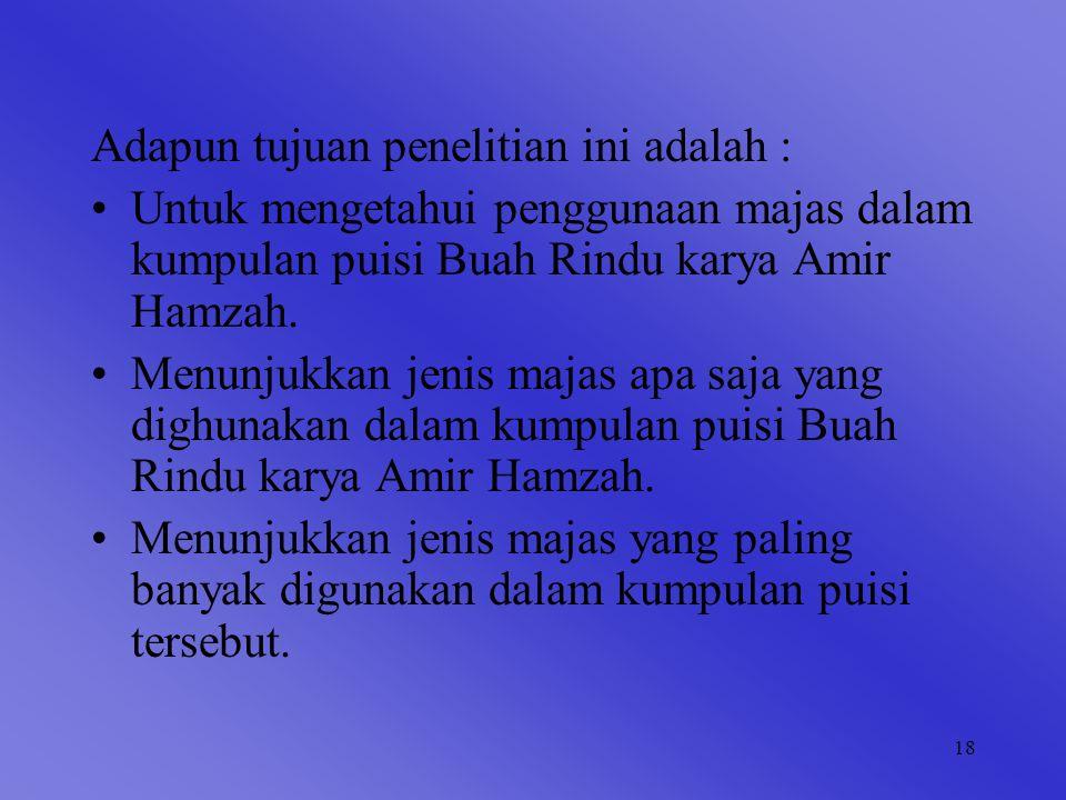 18 Adapun tujuan penelitian ini adalah : Untuk mengetahui penggunaan majas dalam kumpulan puisi Buah Rindu karya Amir Hamzah.