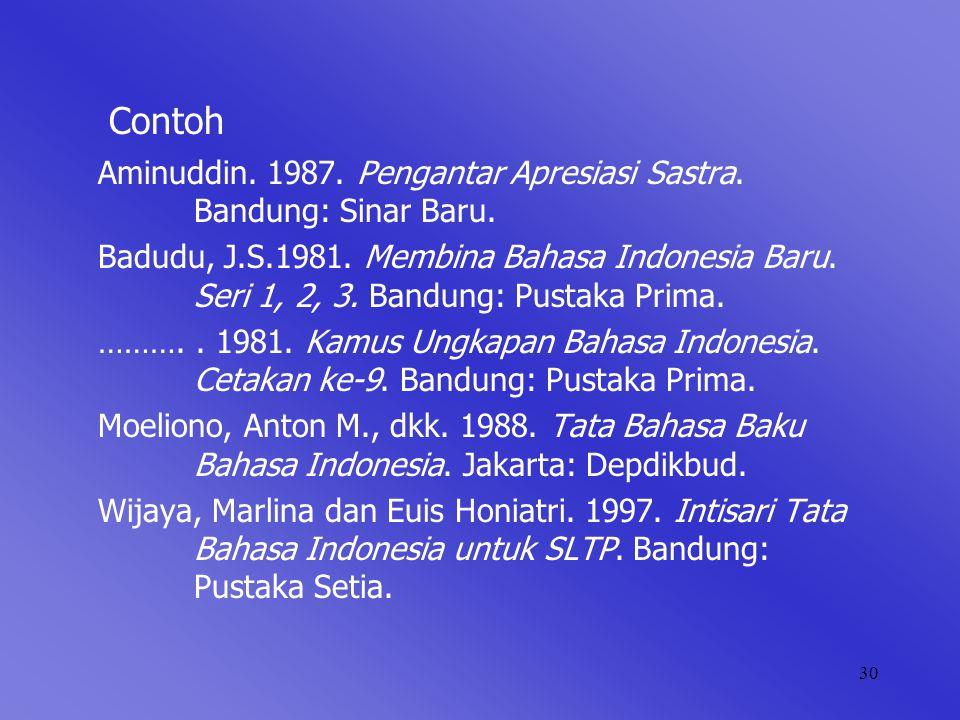30 Contoh Aminuddin.1987. Pengantar Apresiasi Sastra.