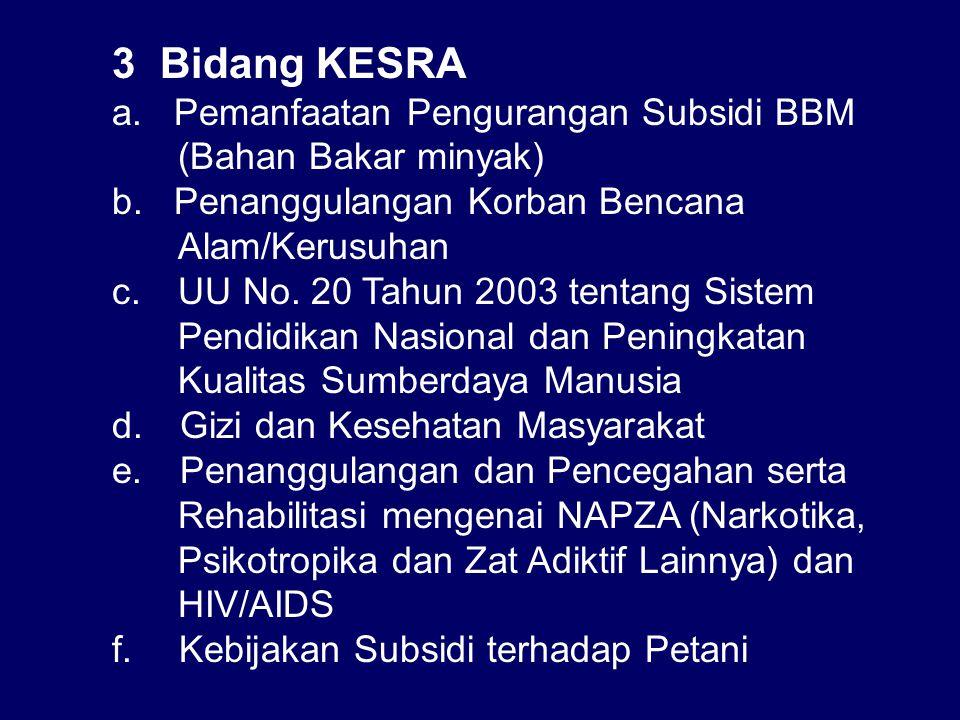3 Bidang KESRA a.Pemanfaatan Pengurangan Subsidi BBM (Bahan Bakar minyak) b.