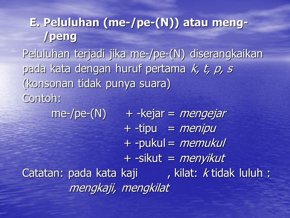 E. Peluluhan (me-/pe-(N)) atau meng- /peng Peluluhan terjadi jika me-/pe-(N) diserangkaikan pada kata dengan huruf pertama k, t, p, s (konsonan tidak