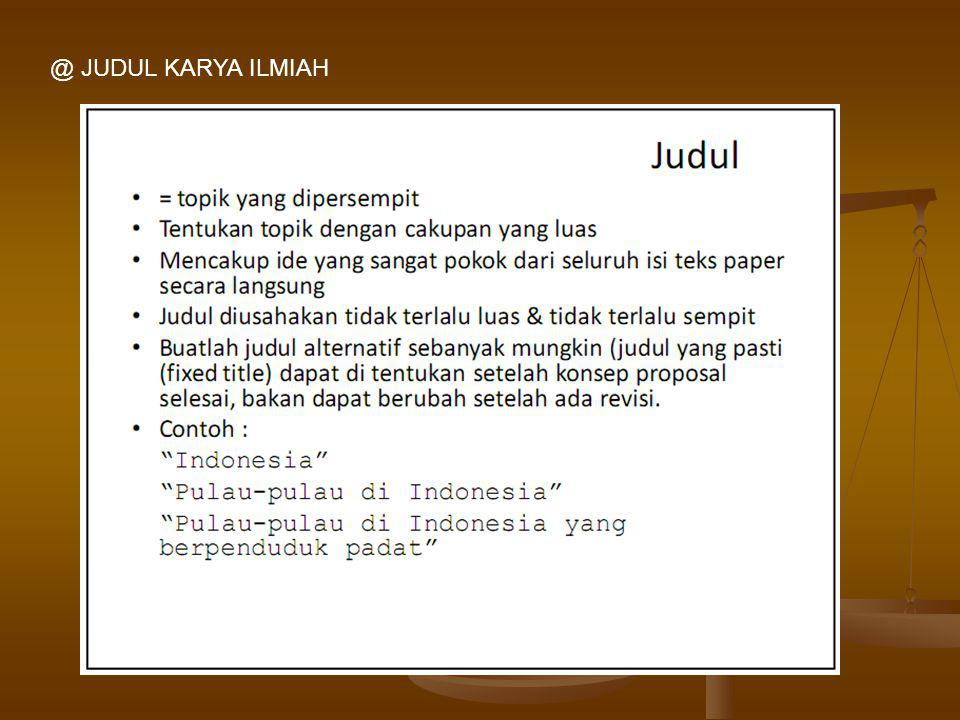 @ JUDUL KARYA ILMIAH