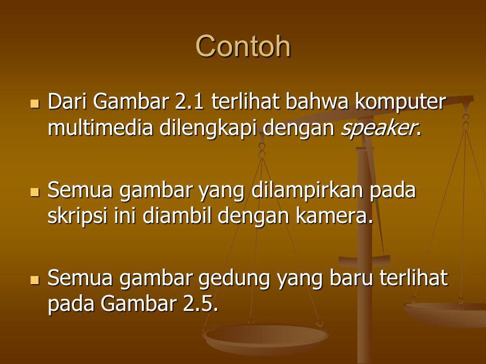 Contoh Dari Gambar 2.1 terlihat bahwa komputer multimedia dilengkapi dengan speaker.