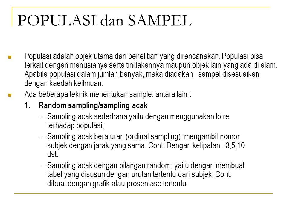 POPULASI dan SAMPEL Populasi adalah objek utama dari penelitian yang direncanakan. Populasi bisa terkait dengan manusianya serta tindakannya maupun ob