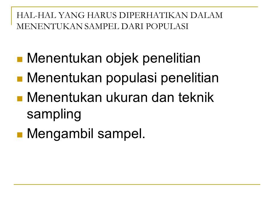 HAL-HAL YANG HARUS DIPERHATIKAN DALAM MENENTUKAN SAMPEL DARI POPULASI Menentukan objek penelitian Menentukan populasi penelitian Menentukan ukuran dan teknik sampling Mengambil sampel.