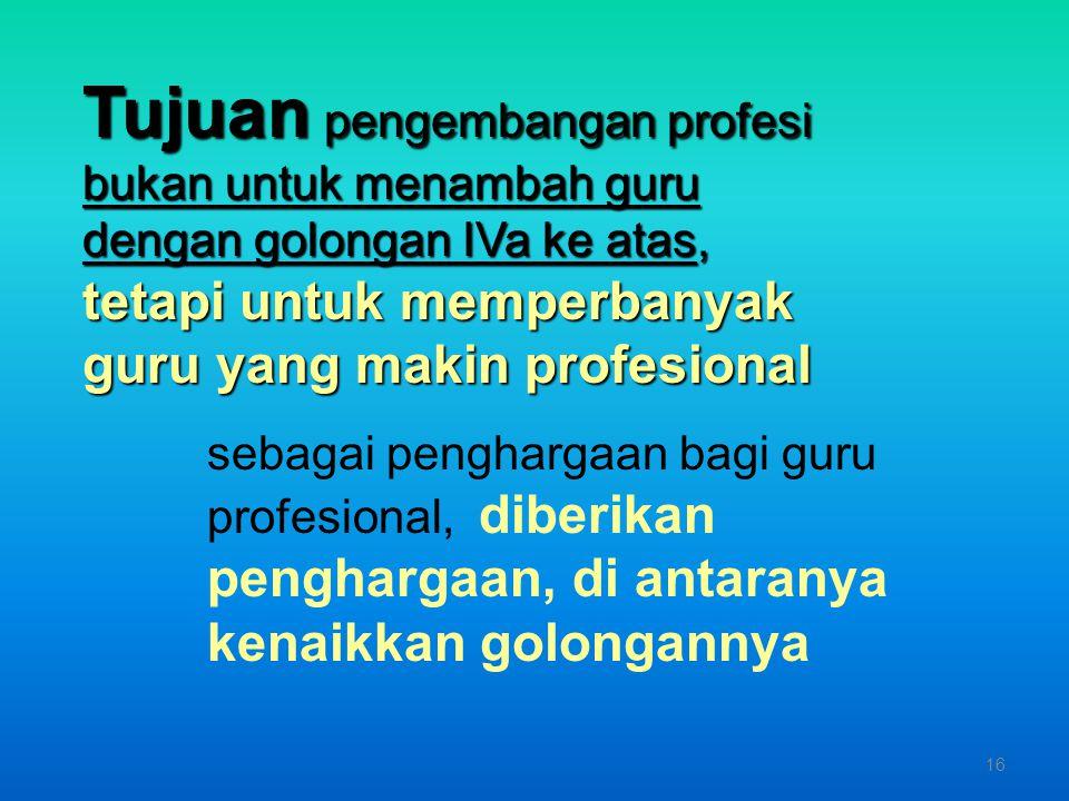 5 Kegiatan 5 macam Kegiatan Pengembangan Profesi : 1. K T I 2. Teknologi Tepat Guna 3. Alat Peraga 4. Karya seni 5. Kurikulum 15