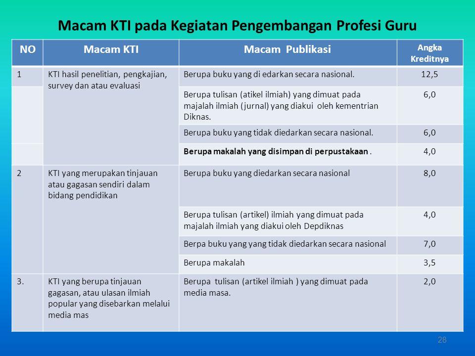 KTI harus mampu memberikan laporan kegiatan yang dilakukan dalam pengembangan profesinya. 27