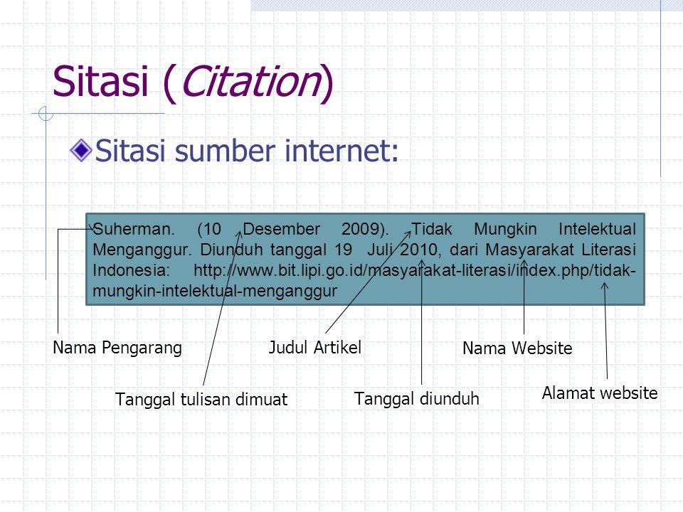 Sitasi (Citation) Sitasi sumber internet: Suherman.