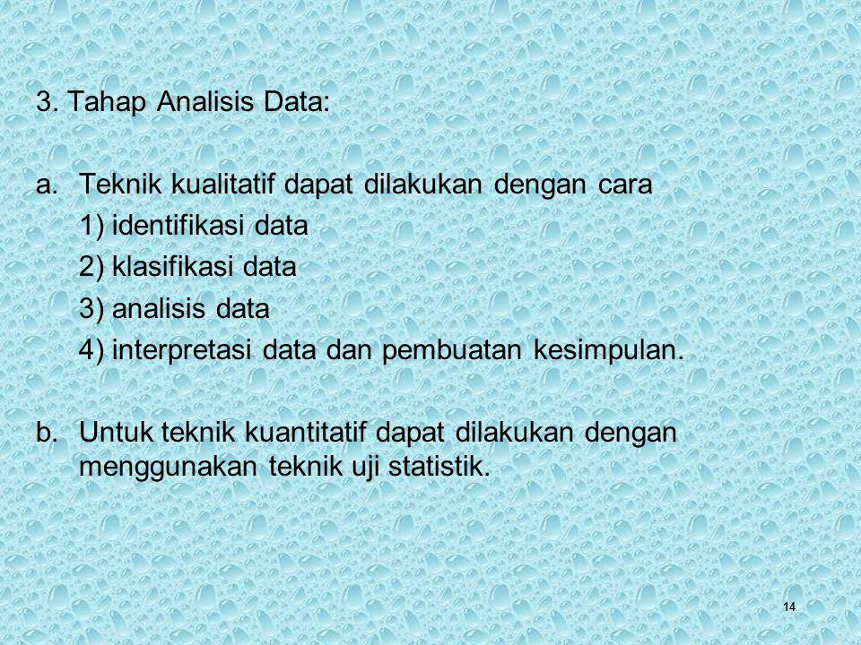 14 3. Tahap Analisis Data: a.Teknik kualitatif dapat dilakukan dengan cara 1) identifikasi data 2) klasifikasi data 3) analisis data 4) interpretasi d