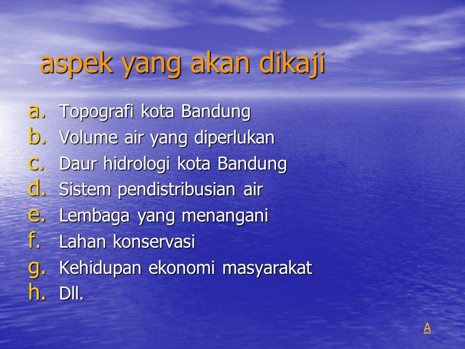 aspek yang akan dikaji a. Topografi kota Bandung b. Volume air yang diperlukan c. Daur hidrologi kota Bandung d. Sistem pendistribusian air e. Lembaga