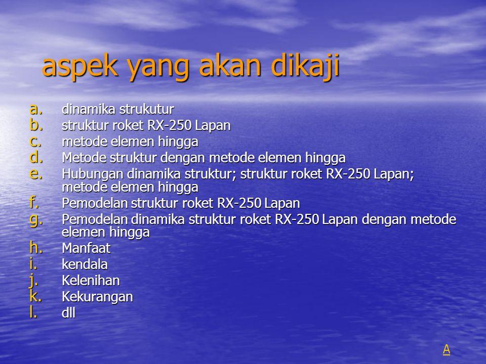 aspek yang akan dikaji a.dinamika strukutur b. struktur roket RX-250 Lapan c.