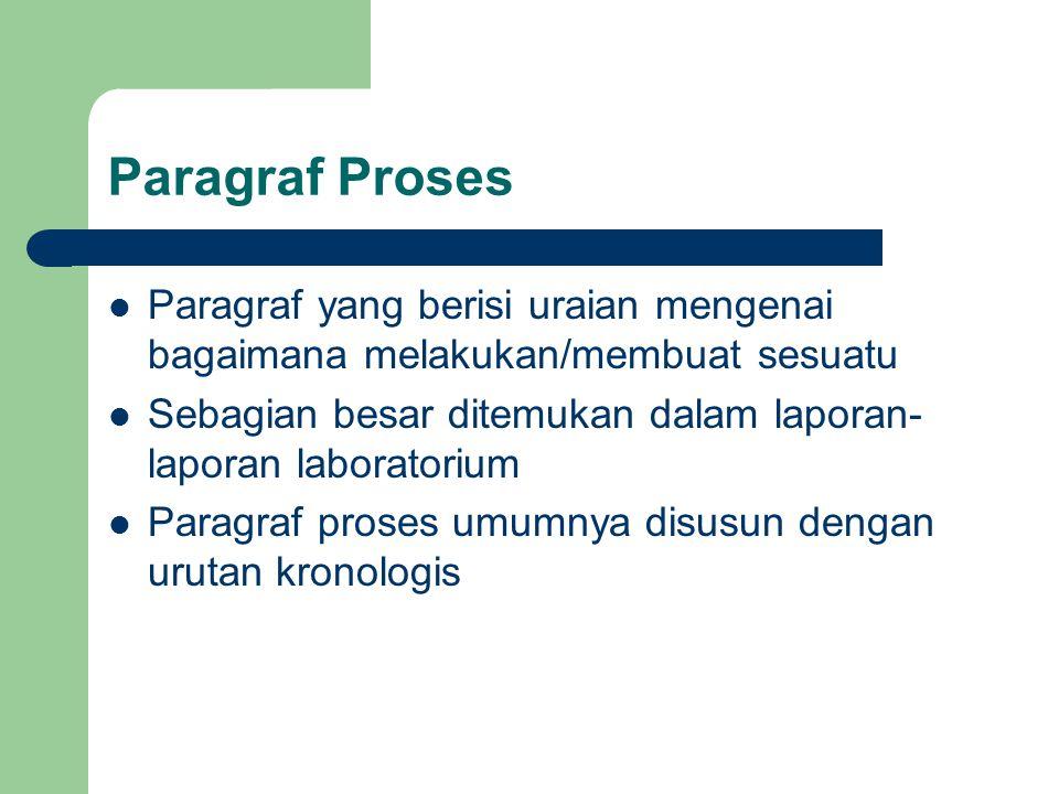 Paragraf Proses Paragraf yang berisi uraian mengenai bagaimana melakukan/membuat sesuatu Sebagian besar ditemukan dalam laporan- laporan laboratorium Paragraf proses umumnya disusun dengan urutan kronologis