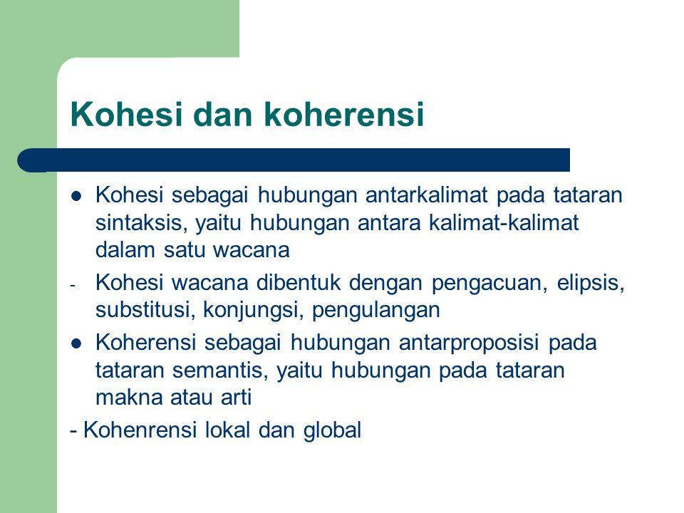 Kohesi dan koherensi Kohesi sebagai hubungan antarkalimat pada tataran sintaksis, yaitu hubungan antara kalimat-kalimat dalam satu wacana - Kohesi wac