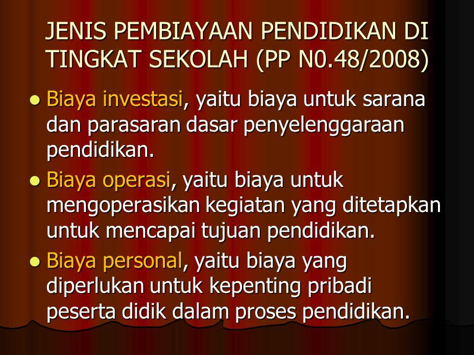 JENIS PEMBIAYAAN PENDIDIKAN DI TINGKAT SEKOLAH (PP N0.48/2008) Biaya investasi, yaitu biaya untuk sarana dan parasaran dasar penyelenggaraan pendidikan.