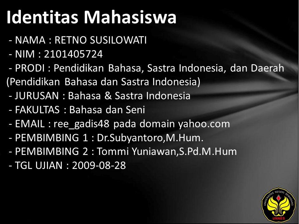 Identitas Mahasiswa - NAMA : RETNO SUSILOWATI - NIM : 2101405724 - PRODI : Pendidikan Bahasa, Sastra Indonesia, dan Daerah (Pendidikan Bahasa dan Sast