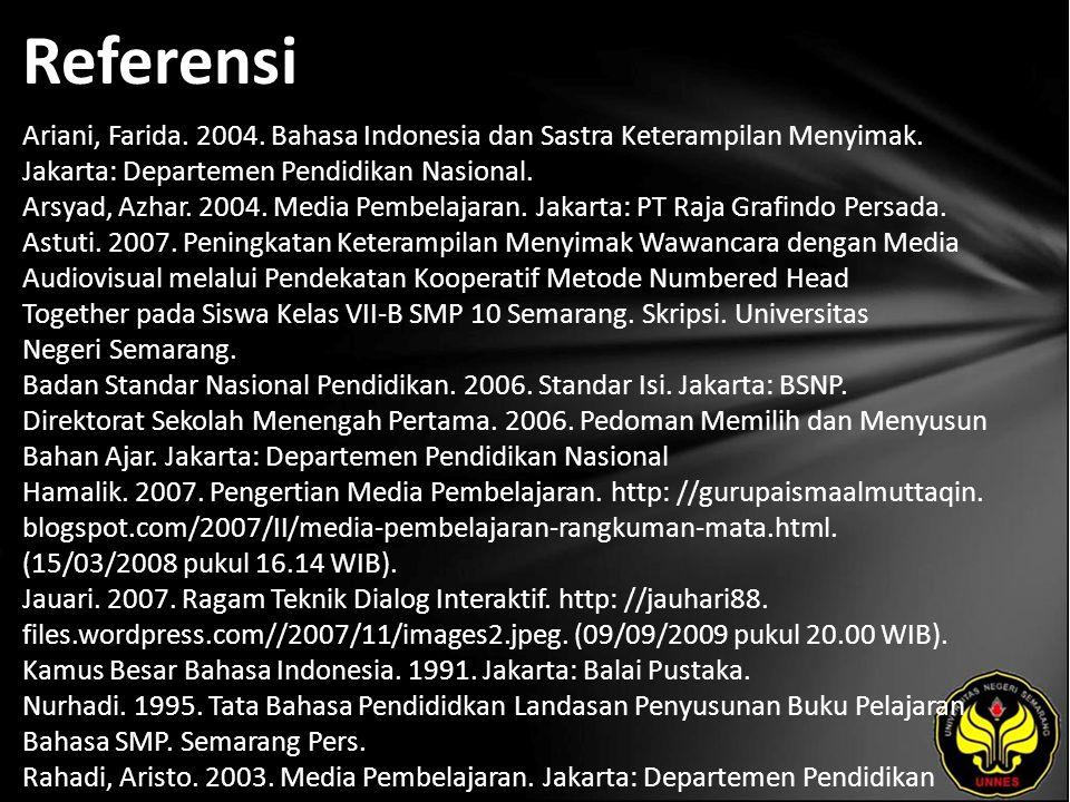 Referensi Ariani, Farida. 2004. Bahasa Indonesia dan Sastra Keterampilan Menyimak. Jakarta: Departemen Pendidikan Nasional. Arsyad, Azhar. 2004. Media