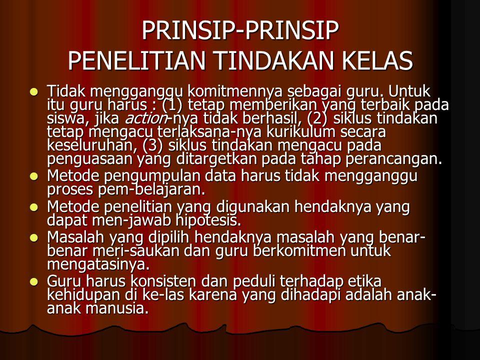 PRINSIP-PRINSIP PENELITIAN TINDAKAN KELAS Tidak mengganggu komitmennya sebagai guru.