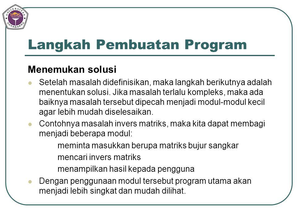 Langkah Pembuatan Program Menemukan solusi Setelah masalah didefinisikan, maka langkah berikutnya adalah menentukan solusi. Jika masalah terlalu kompl