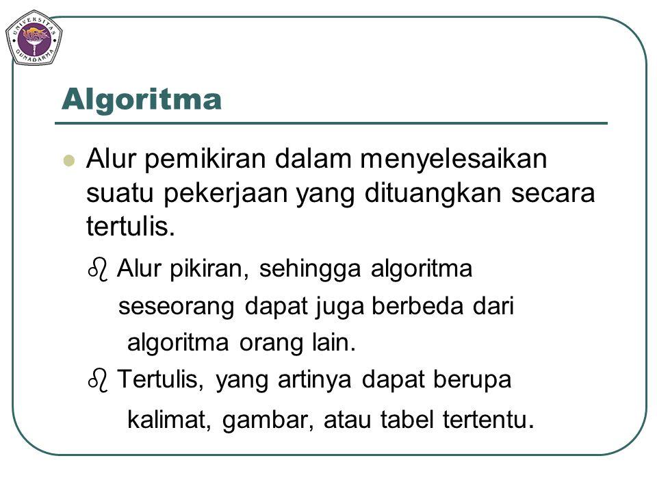 Algoritma Alur pemikiran dalam menyelesaikan suatu pekerjaan yang dituangkan secara tertulis.  Alur pikiran, sehingga algoritma seseorang dapat juga