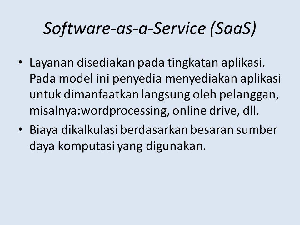 Software-as-a-Service (SaaS) Layanan disediakan pada tingkatan aplikasi.